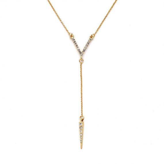 Colier V cu pietre și lanț auriu