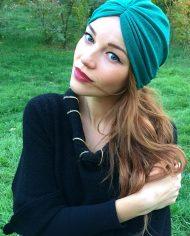 turban verde din tricot elastic