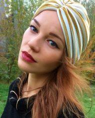 turban gold auriu cu dungi albe