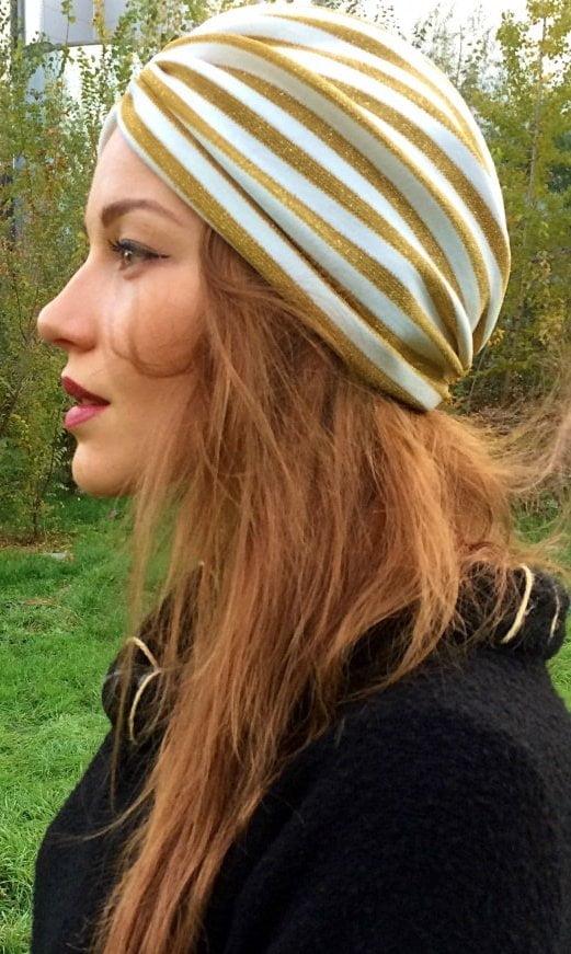 turban gold auriu cu dungi2 albe
