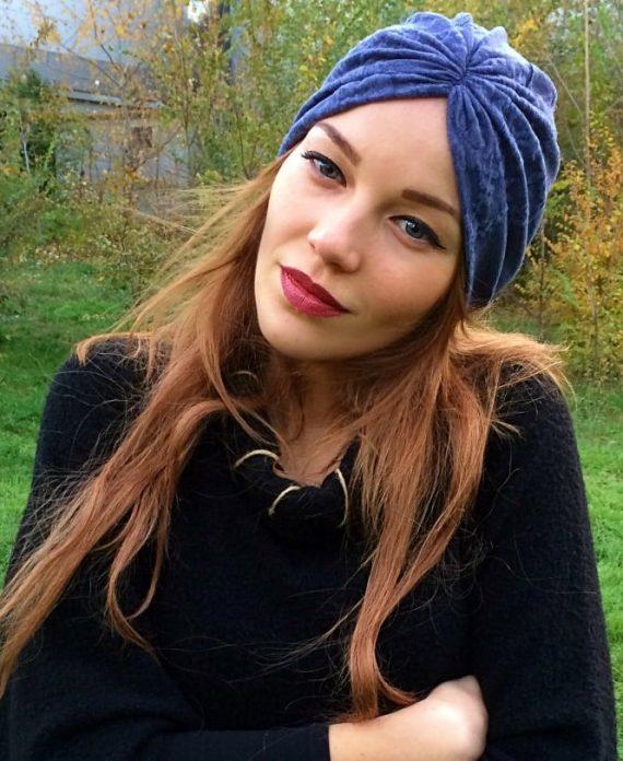 turban albastru cu tesatura1