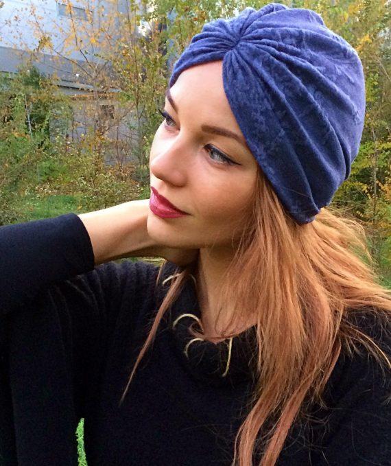 turban albastru cu tesatura