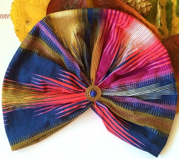 turban multicolor cu accesoriu