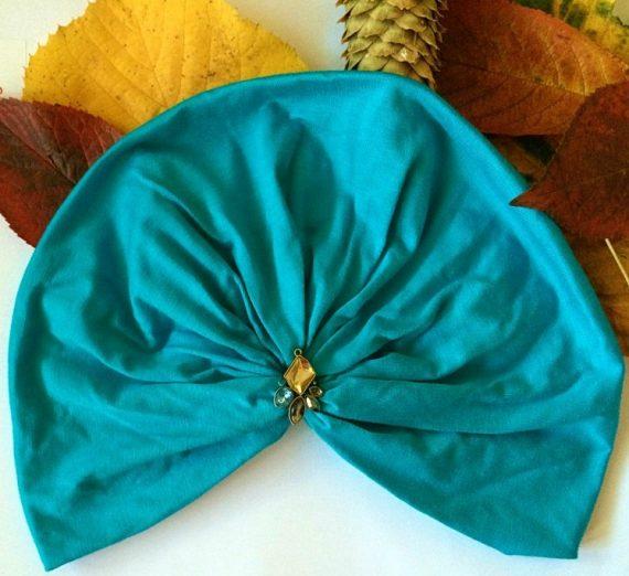 turban turcoaz din bumbac elastic cu accesoriu