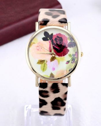 Women Elegant Leopard Grain Leather Wrist Watches Casual Quartz