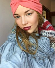 Fular gri tricotat tip guler