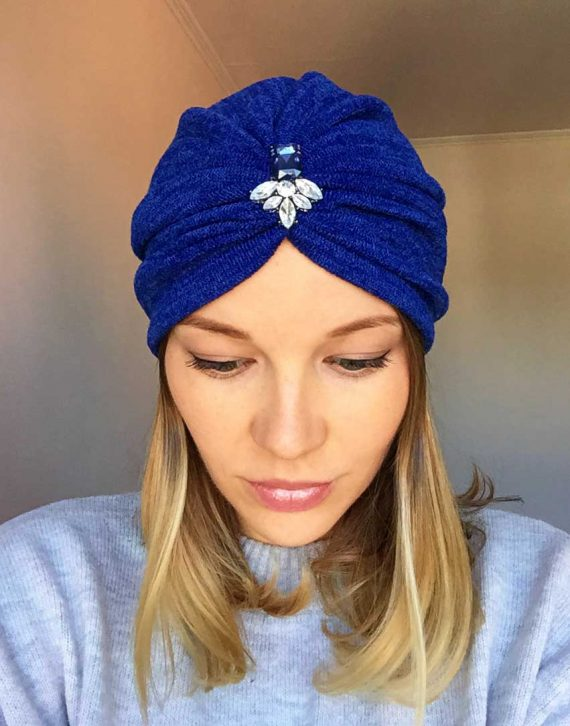 Turban albastru din angora