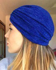 Turban albastru din angora pufoasa