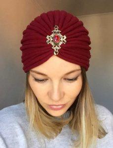 Turban bordo din tricot