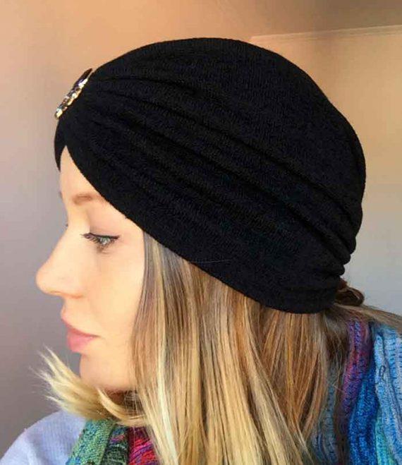 Turban negru din angora