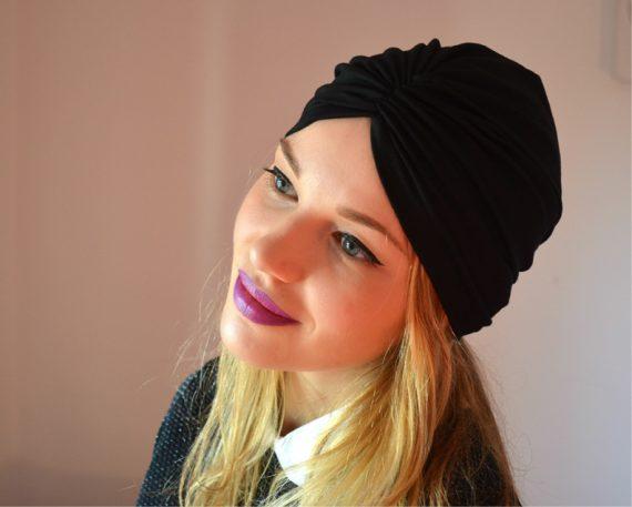Turban negru din bumbac
