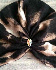 Turban negru cu grej din angora