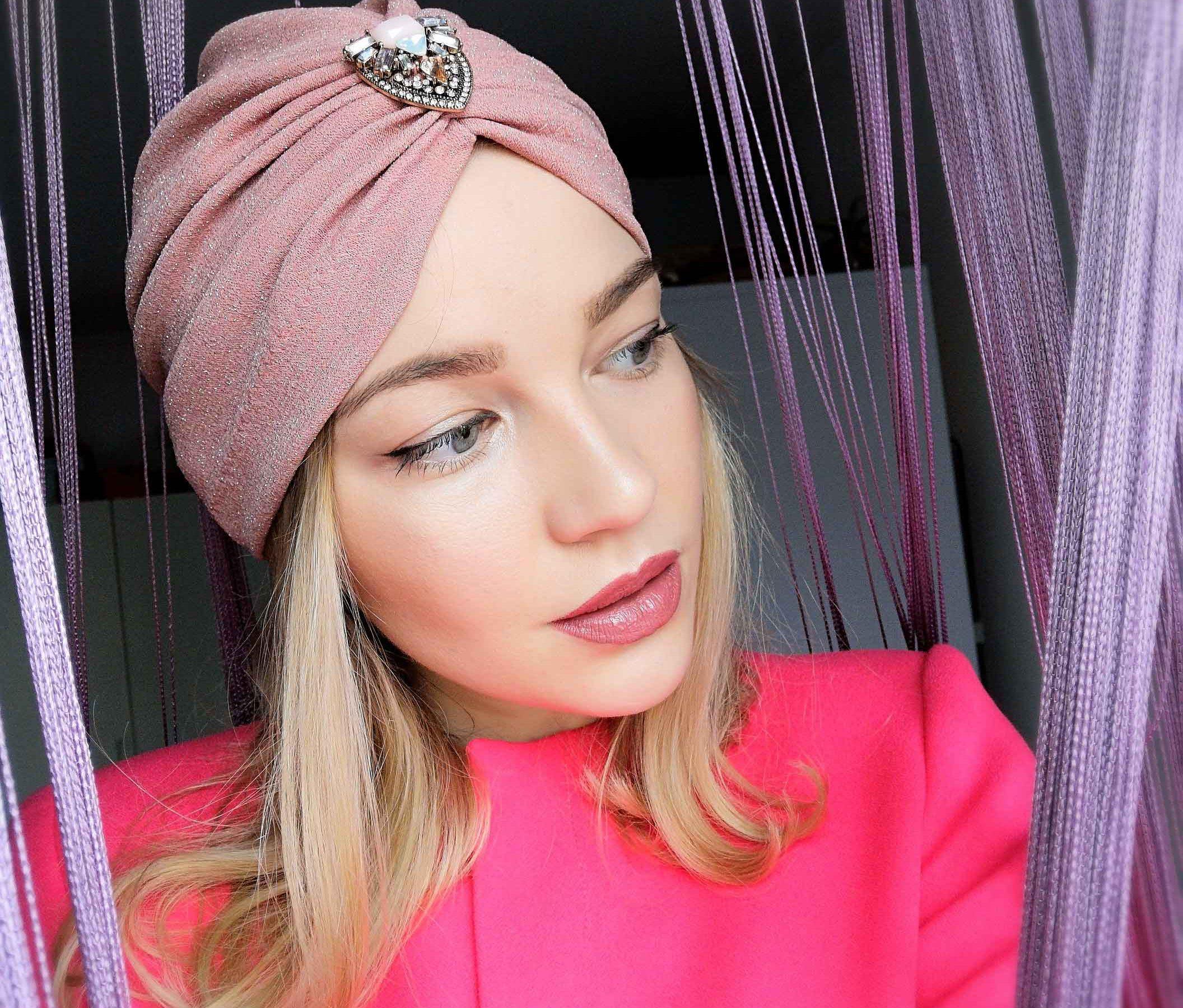 Turban roz cu sclipici fin