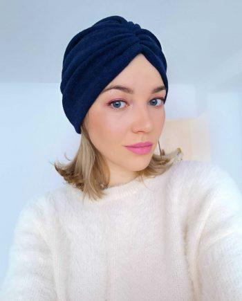 Turban bleumarin din angora textura plina