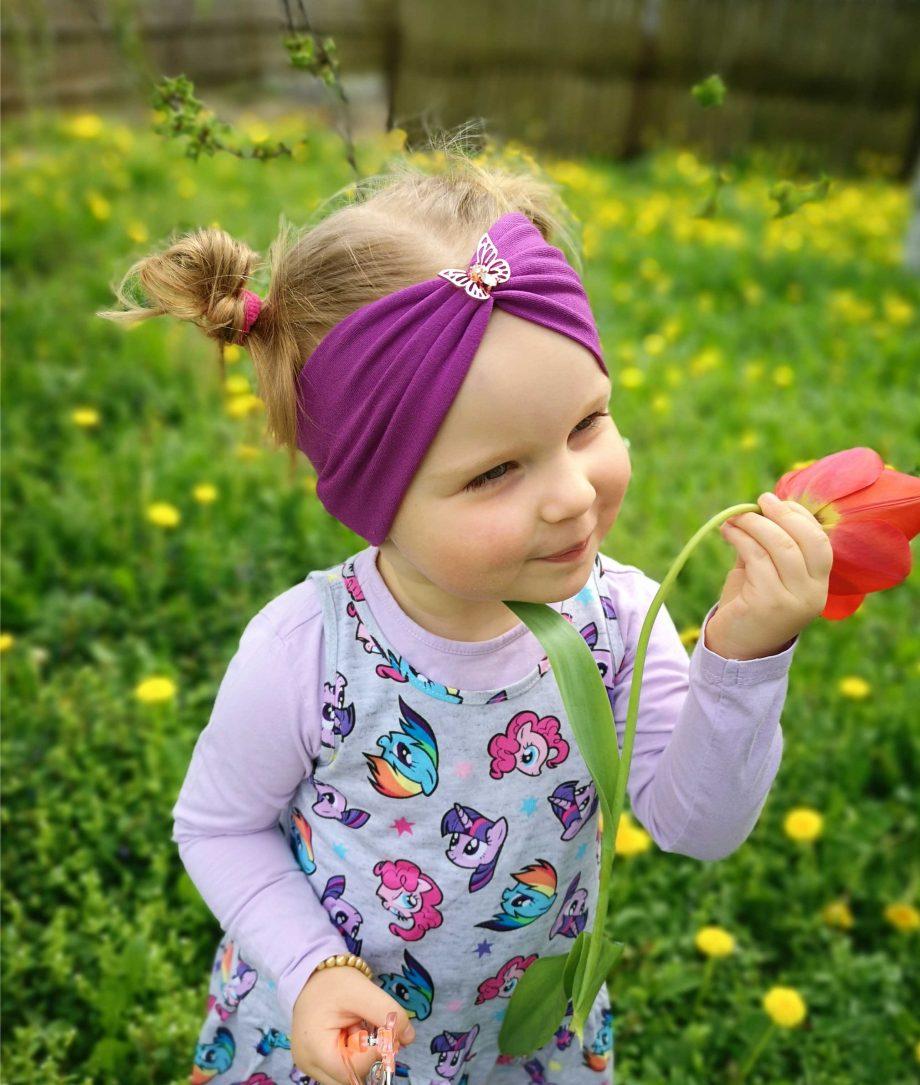 Bentita din bumbac cu fluturas pentru fetite