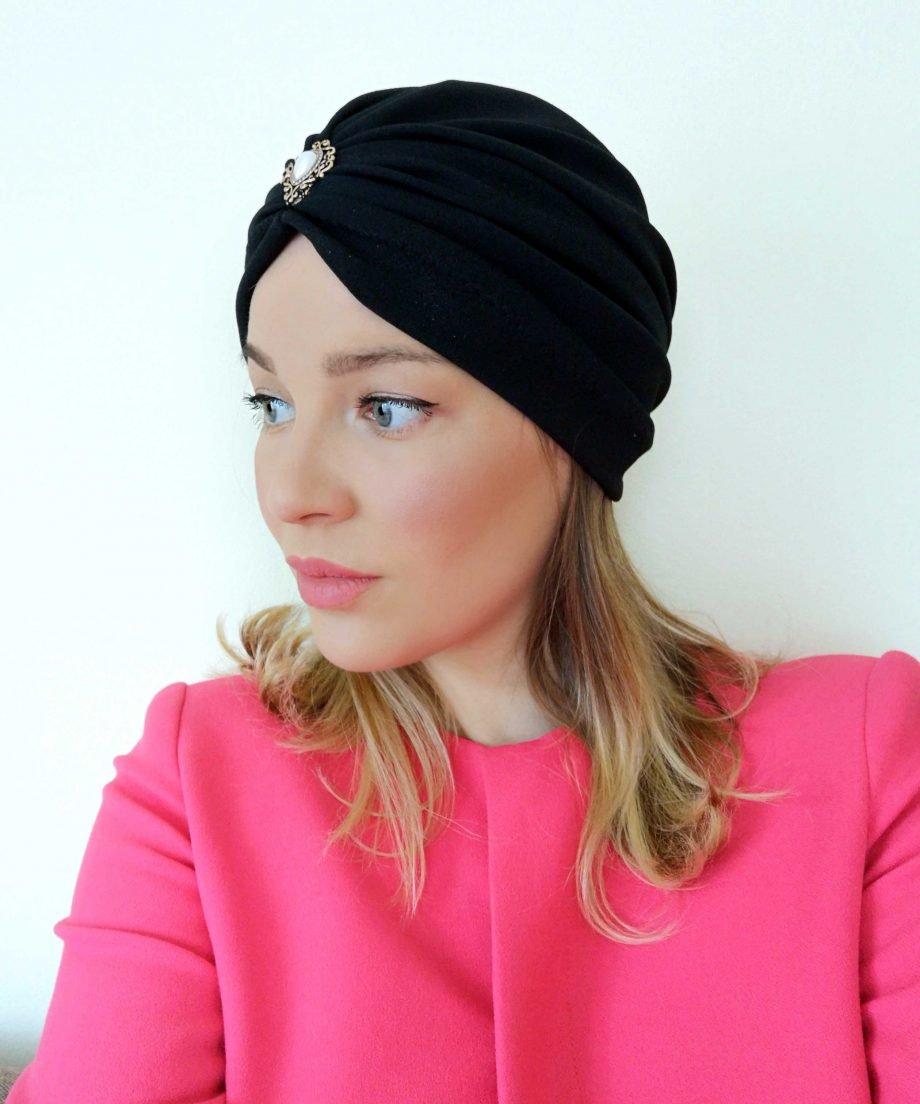 Turban negru din crep elastic