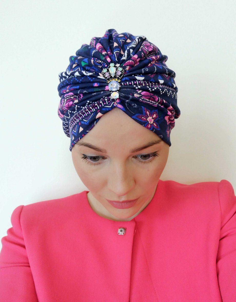 Turban Lila cu model din bumbac