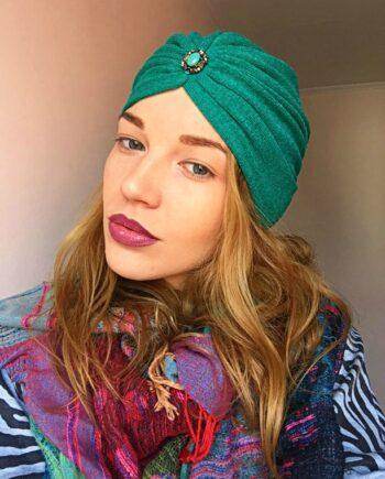 Turban verde din tricot