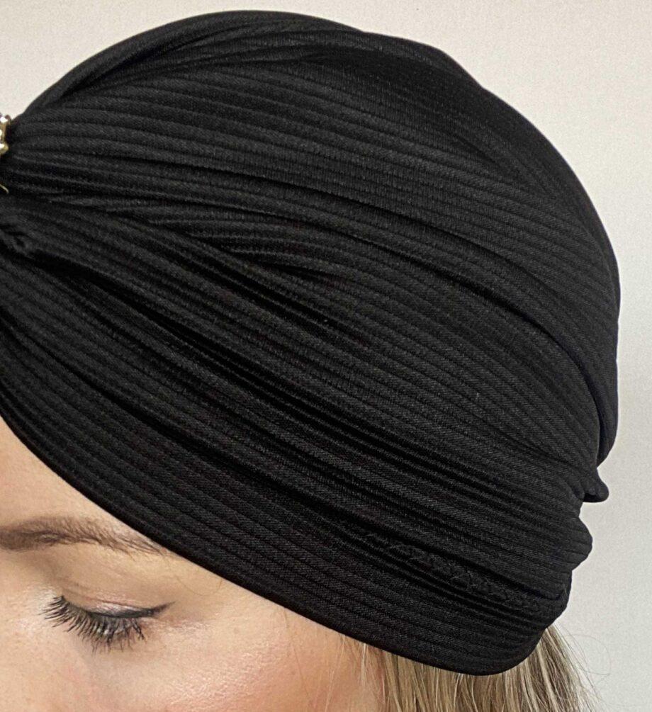 Turban negru fin cu dungi