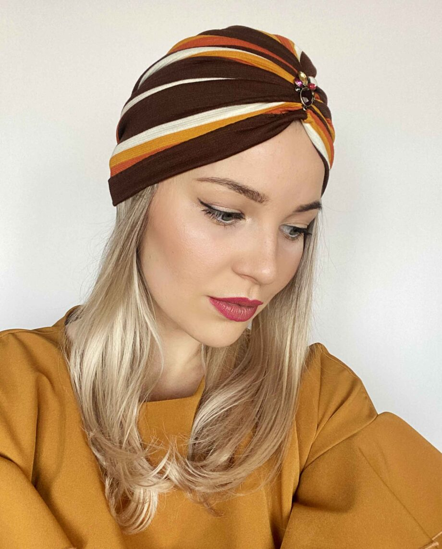 Turban din bumbac cu dungi colorate