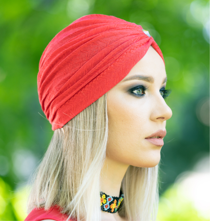 Turban corai cu model in tesatura