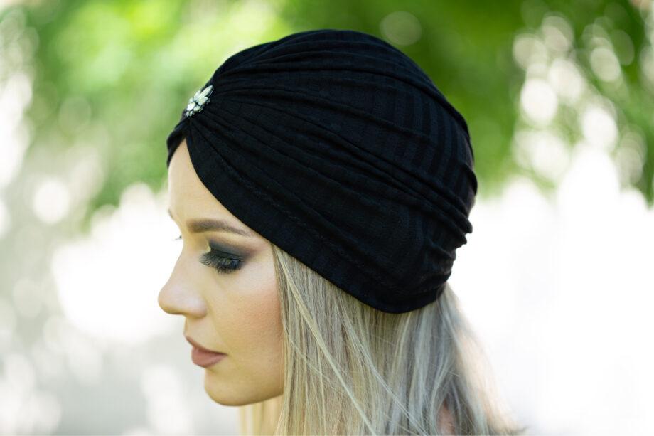 Turban negru din bumbac subtire