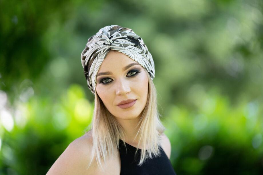 Turban cu frunze din bumbac